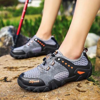 НОВ модел мъжки туристически обувки с връзки и надпис