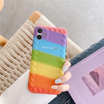 Многоцветен калъф за Iphone 11 и надпис Good Luck