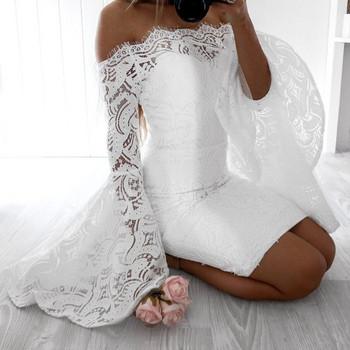 Елегантна дантелена дамска рокля Slim модел с паднали ръкави