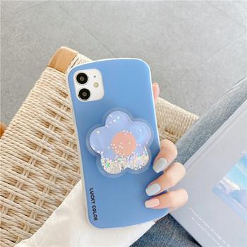 Калъф за  Iphone 11 с държач и 3D цвете с лъскави частици