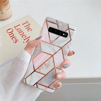Силиконов калъф за  Samsung S10  с мраморен ефект и геометричи фигури