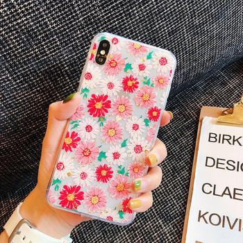 Силиконов калъф с цветя за  iPhone X/XS
