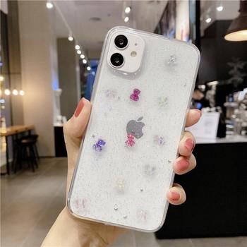 Прозрачен силиконов калъф с лъскави частици за Iphone 11