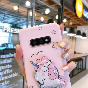 Силиконов калъф с държач еднорог  за Samsung S10