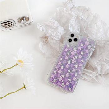 Прозрачен силиконов калъф с цветя в лилав цвят