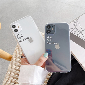 Прозрачен силиконов калъф с надпис за Iphone 11