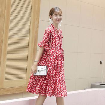 Дамска рокля с къс ръкав за бременни в два цвята