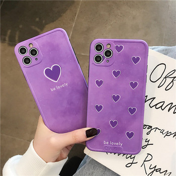 Калъф за Iphone 11 Pro Max в лилав цвят и сърца - два модела
