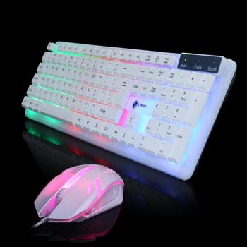 Limei T11 светеща USB клавиатура и мишка