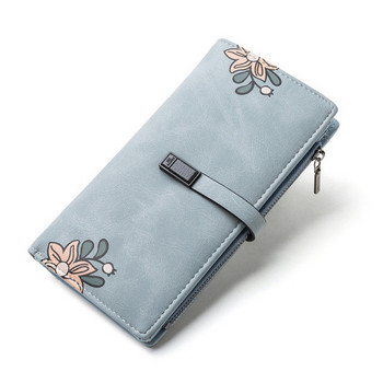 Γυναικείο πορτοφόλι από οικολογικό δέρμα με λουλούδια