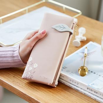 Γυναικείο έκο δερμάτινο πορτοφόλι με φερμουάρ και λουλούδια