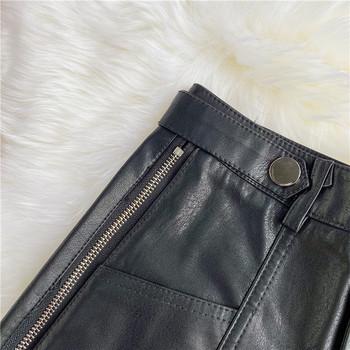 Модерни дамски къси панталони от еко кожа със страничен цип