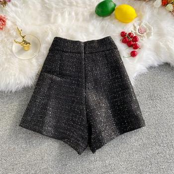 Стилен дамски къс панталон с висока талия