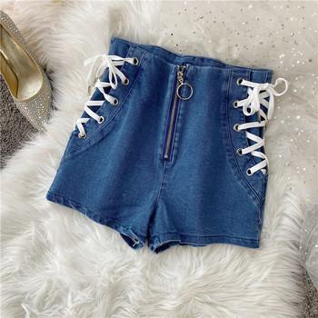Дамски модерни къси деним панталони с връзки и цип
