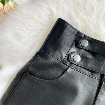 Дамски модерни къси панталони от еко кожа с висока талия