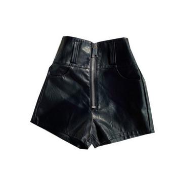 Модерни дамски къси панталони от еко кожа с цип