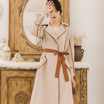 Стилно дамско дълго палто с джобове