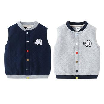 Ежедневен детски елек за момчета с цветни копчета и бродерия
