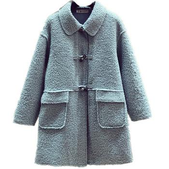 Ежедневно дамско палто с яка и джобове