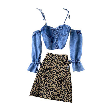 Дамски комплект от дънкова блуза и пола с леопардов принт