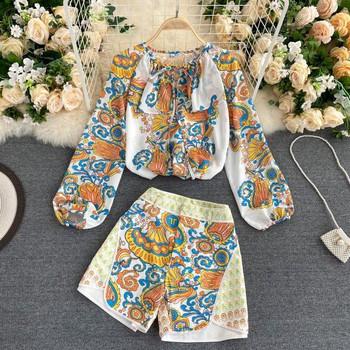 Дамски комплект от риза и панталон с принт