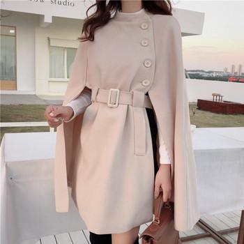 Нов модел дамско палто с копчета и колан на талията