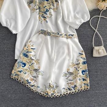 Дамски комплект от риза и панталон с принт и копчета и колан