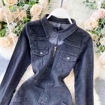 Черен дамски дънков гащеризон с джобове и цип