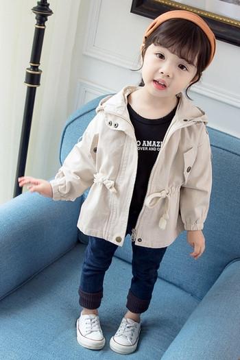 Ежедневно детско яке за момичета с качулка и еластична талия