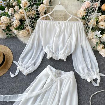 Бял дамски комплект от блуза и дълга пола