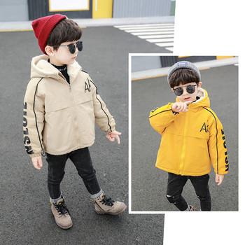 Зимно детско яке за момчета с качулка и надписи