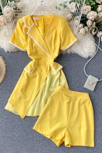 Жълт дамски комплект от риза и панталон