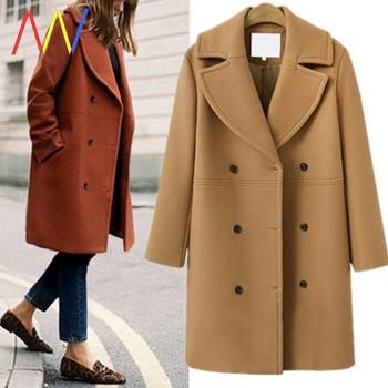 Модерно дълго палто с двуредно закопчаване