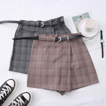 Нов модел ежедневна къса дамска пола-панталон с колан