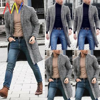 Καρό μακρύ ανδρικό παλτό