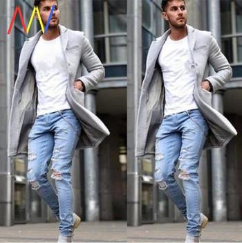 Φθινοπωρινό ανδρικό παλτό σλιμ μοντέλο