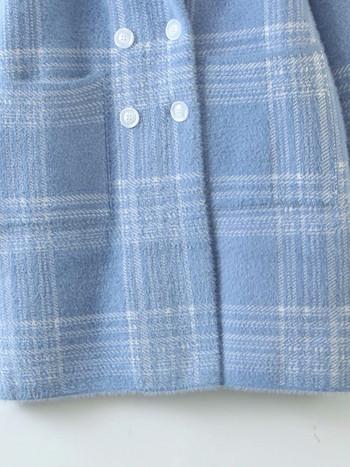 Дамско карирано палто с джобове и копчета