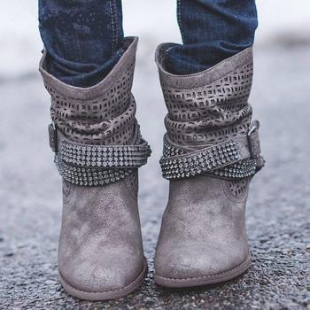 Γυναικείες μπότες με λουράκια και διακοσμιτικές πέτρες