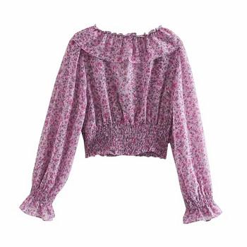 Нов модел къса блуза с къдри