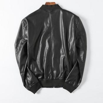 Ανδρικό έκο δερμάτινο μπουφάν με φερμουάρ και τσέπες σε μαύρο χρώμα