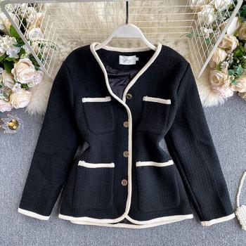 Дамско късо палто с копчета и джобове