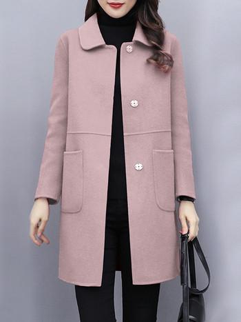 Ежедневно дамско палто с класическа яка и джобове