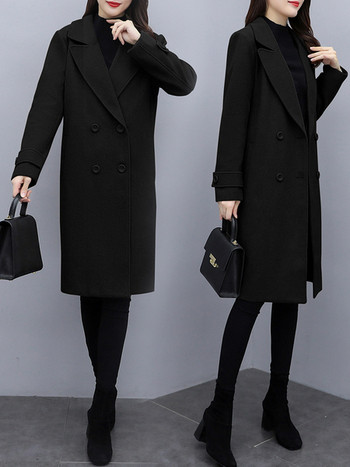 Класическо дамско палто с V-образна яка и копчета