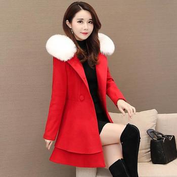 Κομμένο γυναικείο παλτό με κορδέλα και κουκούλα