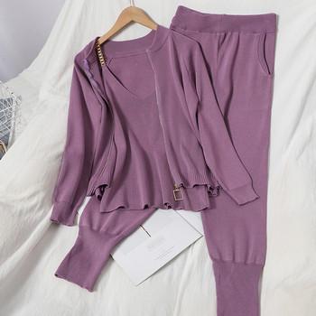 Φθινοπωρινό γυναικείο πλεκτό σετ που περιλαμβάνει γιλέκο, μπλούζα και παντελόνι