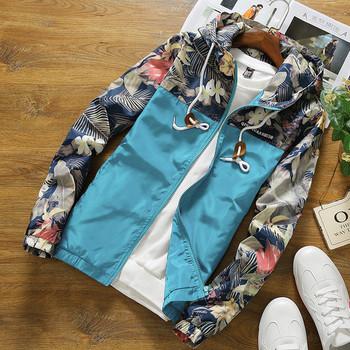 Ανδρικό μπουφάν casual μοντέλο με κουκούλα και λουλουδάτο μοτίβο