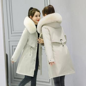 Дамско зимно яке с връзки на талията и пух с качулка