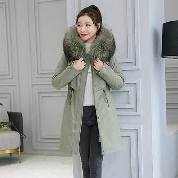 Γυναικείο χειμερινό μπουφάν με γραβάτες στη μέση και κάτω με κουκούλα