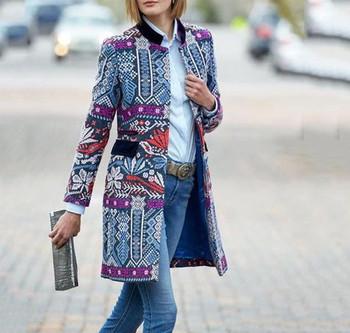 Нов модел цветно дълго дамско палто с ниска яка