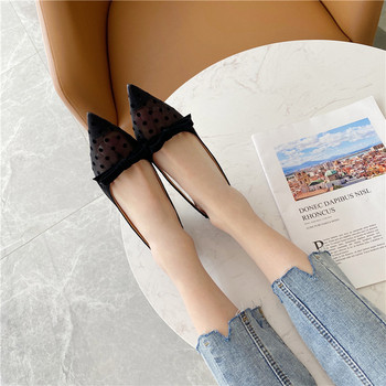 Дамски сандали с нисък ток и мрежеста материя